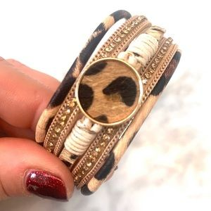 Leopard design Multi layered Animal print bracelet